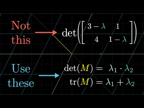 A quick trick for computing eigenvalues | Essence of linear algebra, chapter 15